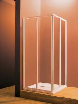 Dušo durys SRV2-80 S balta +stiklas TRANSPARENT