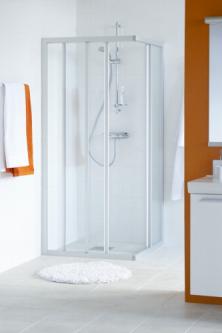 Dušo sienelė IFO SOLID SVH NS 99 profilis aliumio, stiklas baltai raštuotas