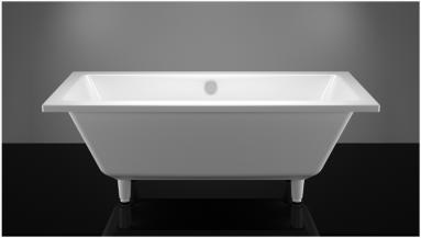 Akmens masės vonia VISPOOL NORDICA 160x75 balta su matomomis kojomis