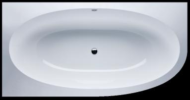 Akmens masės vonia VISPOOL GEMMA 1935X1015 apvalinta dešinė pusė balta