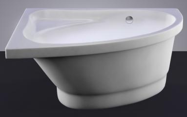 Akmens masės vonia MIA 140x90 dešinės pusės balta