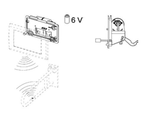 Vandens nuleidimo mygtukas TECEplanus su nuotoliniu valdymu 6V, matinis